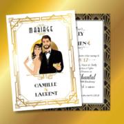 Faire-part de mariage original romantique et rétro d'après l'affiche de Gatsby le Magnifique blanc et or chic des années folles – tenue Charleston années 20