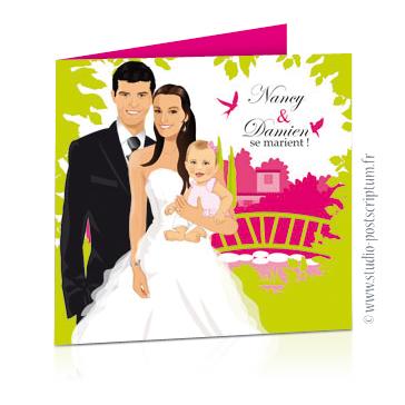 Faire-part de mariage original avec enfant – dessin d'après photos. Couple de mariés avec un bébé dans les bras de la maman Annonce du mariage faite par un enfant