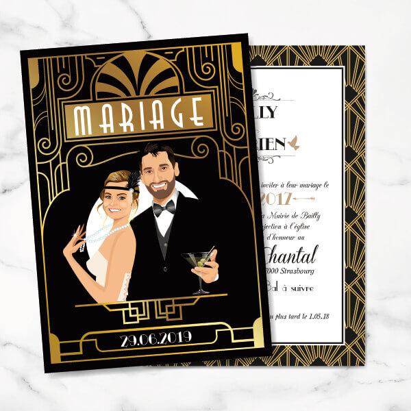 Faire-part de mariage original art déco d'après l'affiche de Gatsby le Magnifique noir et or chic des années folles – tenue Charleston années 20 © www.studio-postscriptum.fr