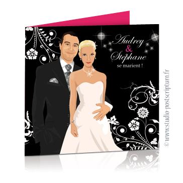 Faire-part de mariage original romantique Couple sur un fond noir baroque avec volutes et lustre rose fuschia - vintage et rétro chic, sobre et élégant