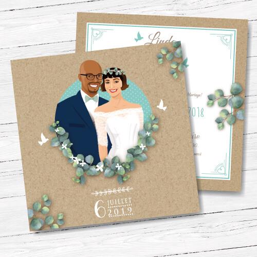 Faire-part, invitation bohème nature - kraft et feuille de vigne bleu, eucalyptus. Portraits dessin caricature - boho chic vintage et romantique.