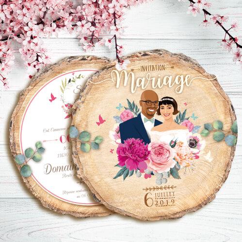 Faire-part de mariage original - fond rondelle de bois - invitation bohème champêtre rustique original Impression sur papier - forme de découpe. Portraits dessin caricature - vintage et romantique.