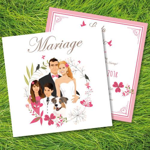 Faire-part, invitation ou save the date bohème nature - famille fond kraft et fleur rose poudré. Portraits dessin caricature - boho chic vintage et romantique.