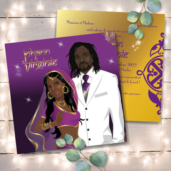 Faire-part de mariage original voyage – dessin d'après photos. Couple de mariés en habit traditionnel sahri indien thème Bollywood – violet et or