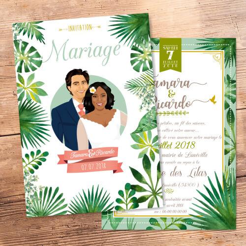 Mariage bohème champêtre nature botanique feuilles plantes- Faire-part, invitation ou save the date Portraits dessin caricature - chic vintage et romantique.