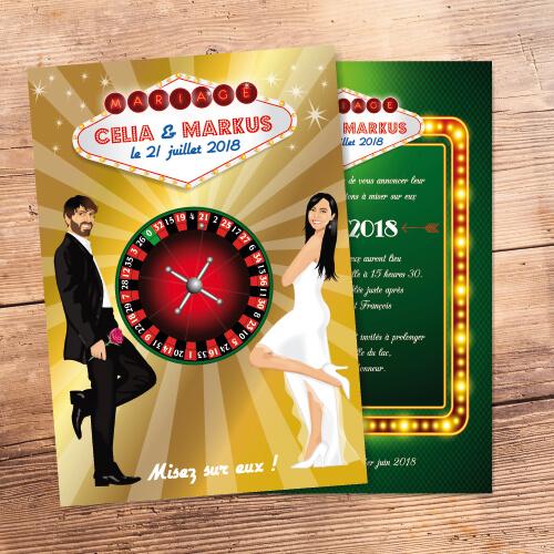 Faire-part mariage casino Las Vegas - Faire-part, invitation ou save the date, roulette Portraits dessin caricature - chic vintage et romantique.