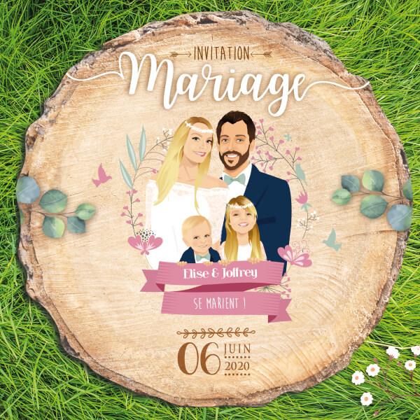 Faire-part de mariage original – papier découpé en rondelle de bois famille avec enfants – thème bohème chic – vintage fleurs couleurs pastel et poudrées