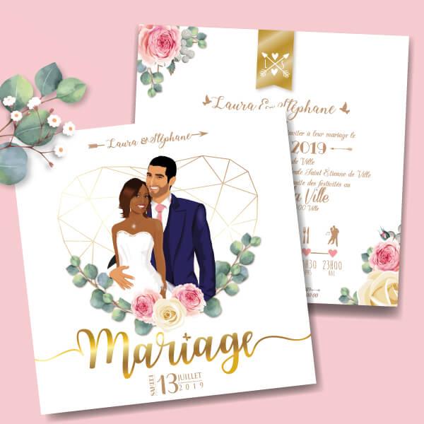 Faire-part de mariage romantique et chic Couple de mariés dans un coeur doré avec fleurs rose poudré et eucalyptus
