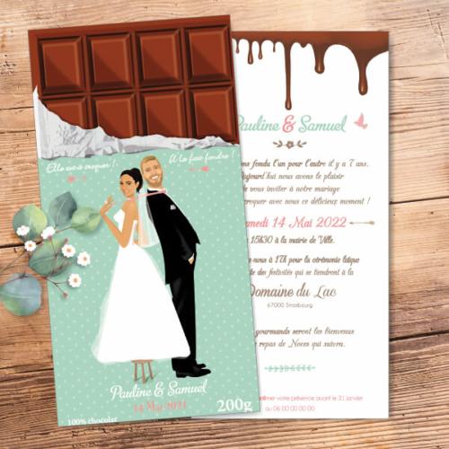 Faire-part de mariage original gourmand en forme de tablette de chocolat - Dessin Couple sur une tablette chocolat mint et rose poudré à pois et coeurs pastel - gourmandise chic et vintage – humour et drôle – candybar