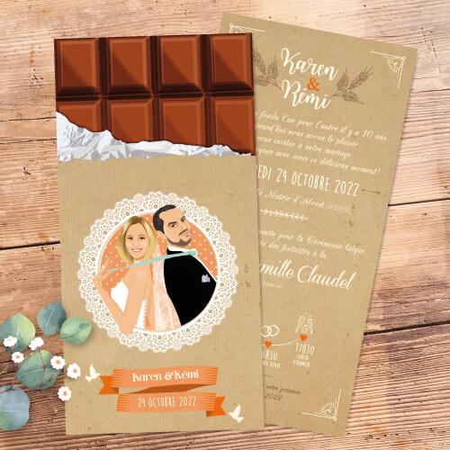 Faire-part de mariage original gourmand Style rustique- chocolat pâtissier, boulanger gourmandise – champêtre rustique chic