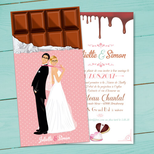 Faire-part de mariage ou save the date original tablette de chocolat gourmandise chocolat bonbon candybar et cupcake romantique vintage poudré pois Portraits dessin caricature - chic vintage et romantique