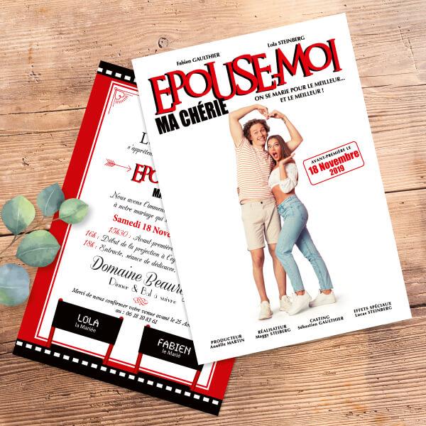 affiche film blanc et rouge fun - faire-part de mariage thème cinéma drôle humour - affiche de film de cinéma - Mariage cinéma original © www.studio-postscriptum.fr