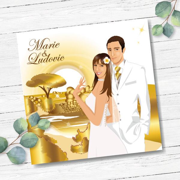 Faire-part de mariage original voyage – dessin d'après photos. Couple de mariés sur la plage d'une île Corse Teintes or et blanc