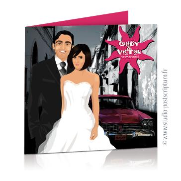 Faire-part de mariage original voyage – dessin d'après photos. Couple de mariés sur fond de voiture américaine à la Havane à Cuba – noir et blanc et rose fuschia