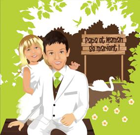 Faire-part de mariage dessin original d'après photos. Thème nature bucolique avec enfants - enfant annonce mariage © Studio Postscriptum