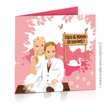 Faire-part de mariage original avec enfant – dessin d'après photos. Enfants en tenue de cérémonie de mariage – thème bucolique Annonce du mariage faite par un enfant