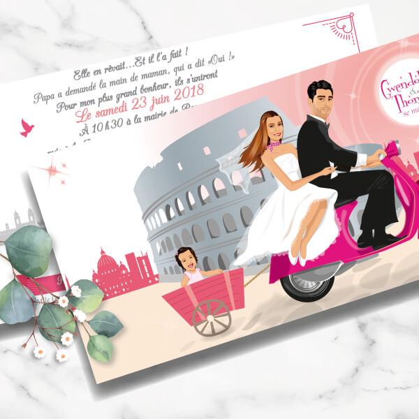 Faire-part de mariage original avec enfant – dessin d'après photos. Thème bohème chic – voyage à Rome avec enfant dans petite carriole derrière une vespa