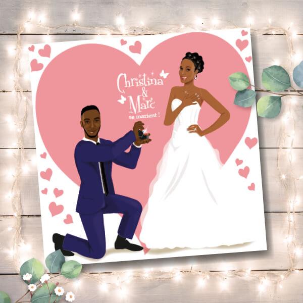 Faire-part de mariage original romantique Couple de mariés posture demande en mariage avec un fond de coeurs rose poudré