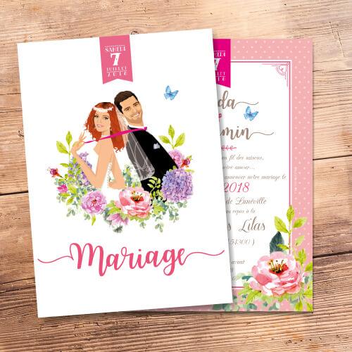 Mariage bohème champêtre nature fleurs du jardin - Faire-part, invitation ou save the date - Portraits dessin caricature - chic vintage et romantique.