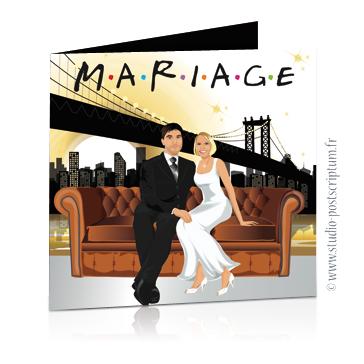 Faire-part de mariage original romantique – dessin d'après photos Couple de mariés sur un canapé façon série Friends à New-York pont de Brooklyn – Rétro – vintage – chic – drôle