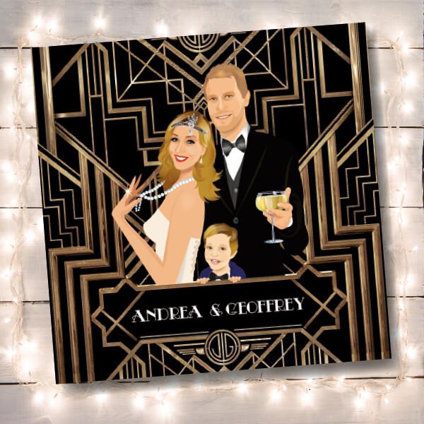 Faire-part de mariage original romantique et rétro d'après l'affiche de Gatsby le Magnifique noir et or chic des années folles – tenue Charleston années 20 © www.studio-postscriptum.fr