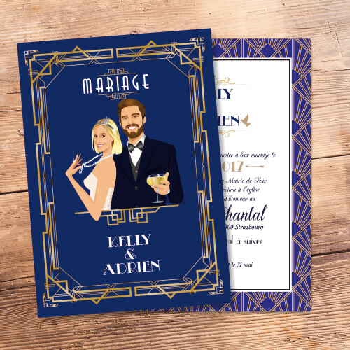 Faire-part de mariage Gatsby rétro années 20 arts déco charleston bleu profond roi- Faire-part, invitation ou save the date - Portraits dessin caricature - chic vintage et romantique.