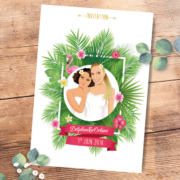 Faire-part de mariage original voyage – dessin d'après photos. Couple de mariés – île tropical avec plantes et fleurs exotiques - mariage gay