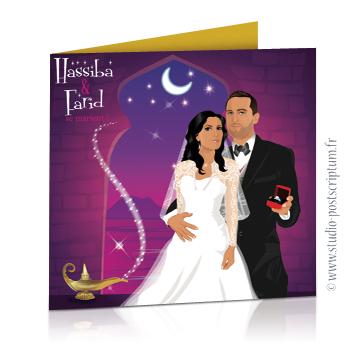 Faire-part de mariage original voyage oriental Couple de mariés sur fond oriental or, violet, or et fuschia 1001 nuits, Aladin et lampe de génie frottée