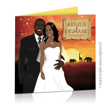 Faire-part de mariage original voyage africain – dessin d'après photos. Couple de mariés sur un fond savane en Afrique avec des animaux et un coucher de soleil