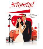 Faire-part de mariage originaux et romantiques en dessin d'après vos photos : faire part amour passion et coeurs rouges