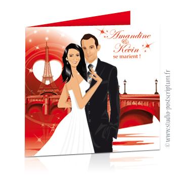 Faire-part de mariage original amour romantique Couple d'amoureux sur un fond rouge nuit avec Paris, la ville de l'amour Chic, sobre et élégant