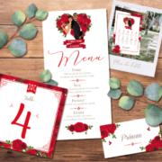 Décoration pour invitation de mariage chic et élégant - thème romantique chic rouge blanc avec roses rouges. Style amour passion chic - plan de table, menu, noms de table, marque-place, nominette, numéro de table