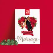 Faire-part de mariage original – thème Amour Chic Rouge et blanc avec bouquet de roses rouge en coeur Chic, sobre et élégant