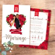 Faire-part mariage original thème fleurs nature roses rouges en coeur, amour passion. Invitation chic vintage et romantique rouge et blanc