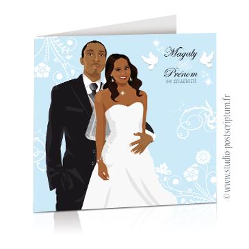 faire part de mariage original romantique vintage chic - dessin originaux couple de mariés romantique sur fond blanc et bleu pastel clair poudré colombe