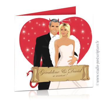 Faire-part de mariage original et drôle – dessin d'après photos. Couple ange ou démon avec coeur en fond – Lucifer ou Cupidon Fun et décalé