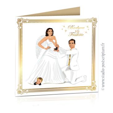faire part de mariage original romantique vintage chic - dessin couple avec enfant avec pose demande de mariage sur fond blanc avec plumes d'ange et dorures chics et élégantes
