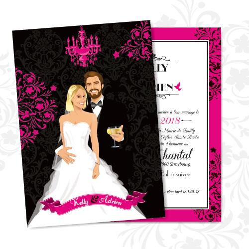 mariage baroque faire-part de mariage fond noir baroque avec volutes et lustre rose fuschia chic, sobre et élégant