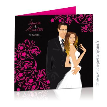 faire part de mariage dessin des mariés original romantique baroque chic avec couple sur fond noir baroque volutes rose fuschia chic, sobre et élégant avec bague