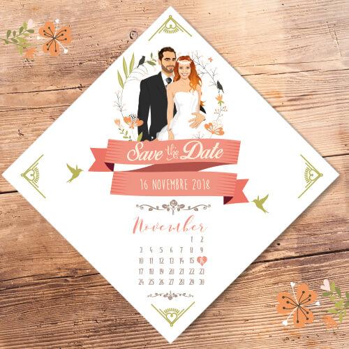 Faire-part de mariage / save the date –original romantique et champêtre bohème chic boho –vintage kraft avec bordure en fleurs Chic, sobre et élégant –forme losange