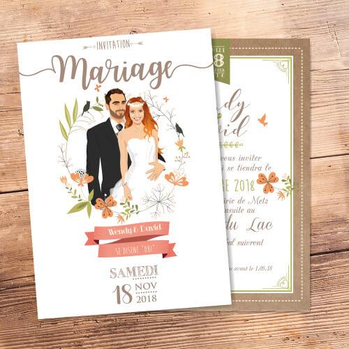 Faire-part de mariage original romantique et champêtre bohème chic boho –vintage kraft avec bordure en fleurs Chic, sobre et élégant