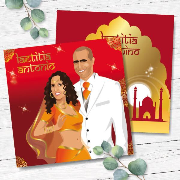 Faire-part de mariage original voyage – dessin d'après photos. Couple de mariés en habit traditionnel sahri indien thème Bollywood – rouge et or