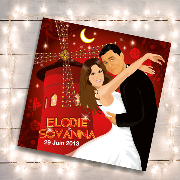 Faire-part de mariage original romantique cinéma - dessin originaux Couple de mariés affiche film Moulin rouge cabaret cinéma chic et drôle