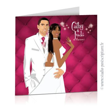 Faire-part de mariage originaux et romantiques en dessin d'après vos photos : baroque blanc et rose fuschia avec fond capitonné