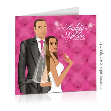 Faire-part de mariage originaux et romantiques en dessin d'après vos photos : baroque rose et gris avec fond capitonné lounge vip chic