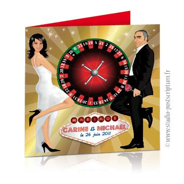 Faire-part de mariage original et drôle – dessin d'après photos. Couple sur fond de jeu de Casino avec Roulette russe à Las Vegas Fun et décalé