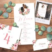 Décoration pour invitation de mariage chic et élégant - thème romantique bohème fleurs vintage - couleurs poudrées Style amour minimaliste chic - plan de table, menu, noms de table, marque-place, nominette, numéro de table