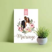 Faire-part de mariage chic et élégant - thème romantique bohème fleurs vintage - couleurs poudrées Style amour minimaliste chic avec ligne de programme du mariage avec des pictogrammes Portraits dessin d'après vos photos, caricature ou avatar - Invitation pour mariage original