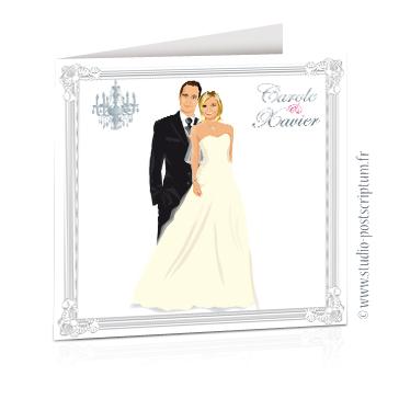 faire part de mariage original romantique vintage chic - dessin originaux couple de mariés romantique sur fond blanc avec lustre et bordure gris argent sobre et élégant
