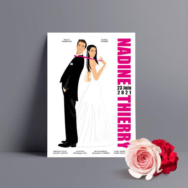 Faire-part de mariage original romantique cinéma - dessin originaux Couple de mariés affiche film Pretty woman cinéma chic et drôle - blanc et fuschia